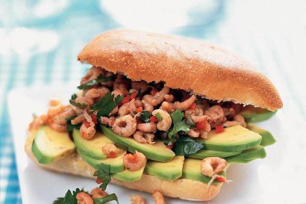 ciabatta with avocado and dutch shrimps