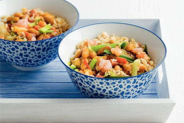 rice and bean dish with shrimps and ham