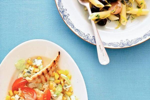 salad of grilled chicken, corn and celery