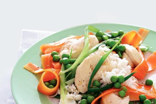 steamed chicken with carrot ribbons