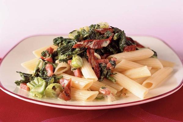 penne with bacon-spinach cream sauce