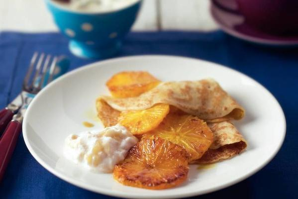 pancakes with banana cream and orange