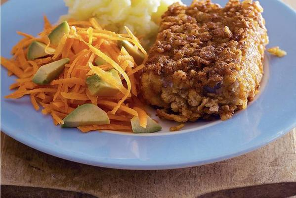 crispy fish with avocado carrot salad