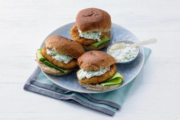 fish burger with cucumber-yoghurt sauce