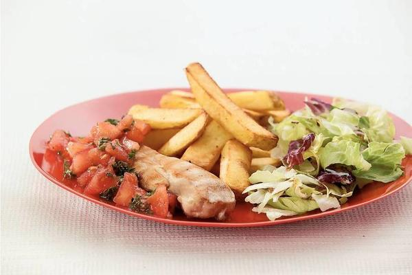 grilled chicken fillet with tomato salsa and French fries