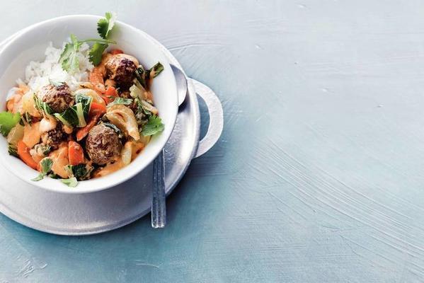 thai meatballs with bok choy