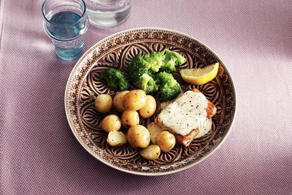 coalfish with dill sauce
