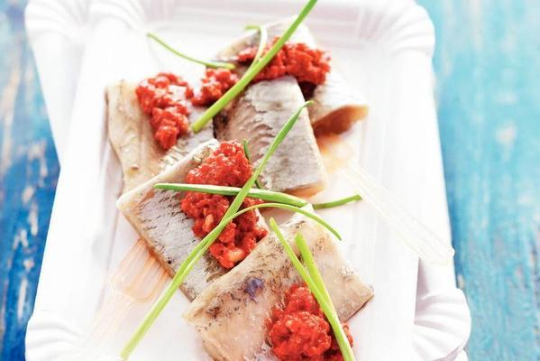 herring with red beet pesto