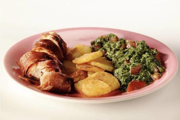 ham chicken rolls with spinach
