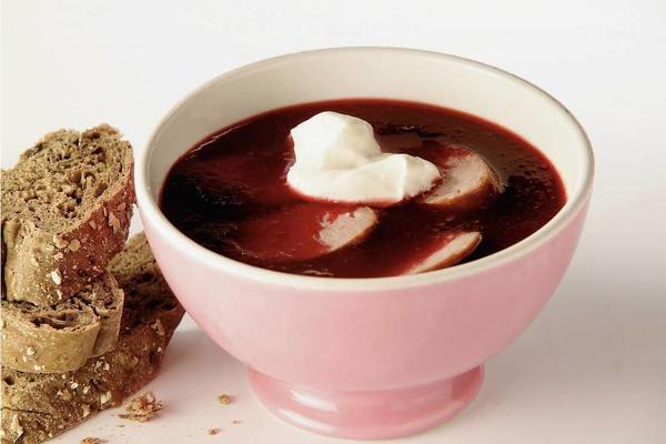 beet soup with farm smoke sausage