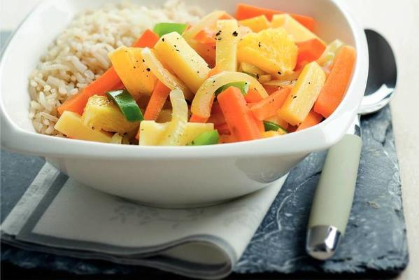 winter vegetable with orange and cheese