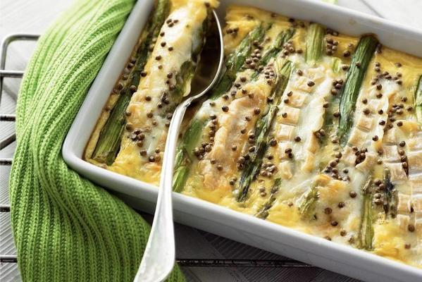 clafoutis of green asparagus with chaumes