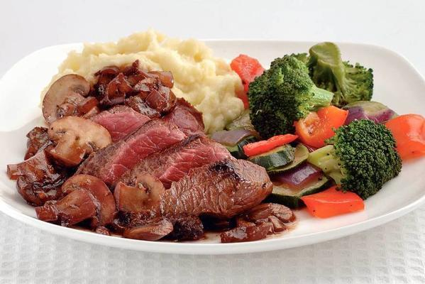 ribeye steak with red wine sauce