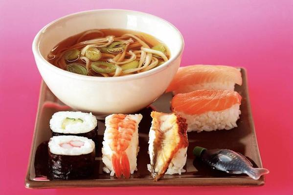 sushi with soup