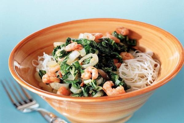 stir-fried pak choi with prawns