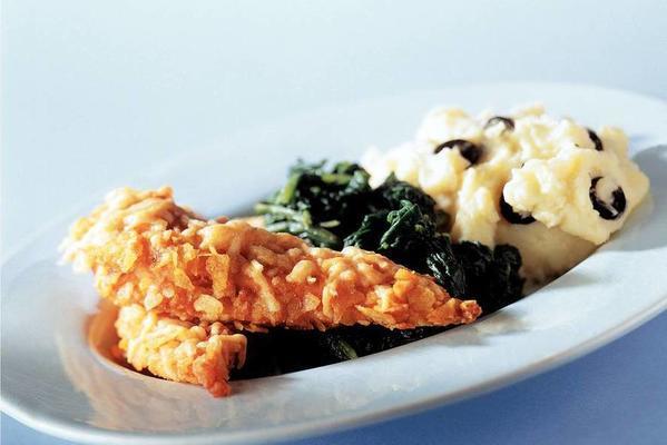 crispy chicken with spinach