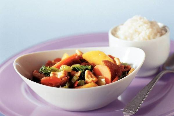 wok dish with peach and rice