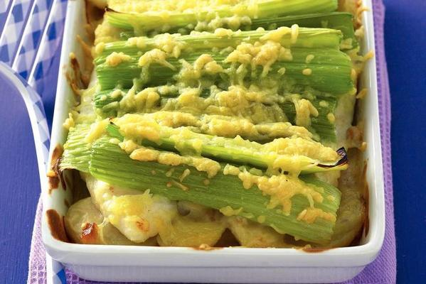 fish gratin with pangasius fillet under celery and cheese