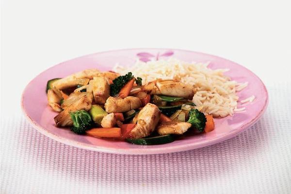 tilapia stir-fry dish with rice