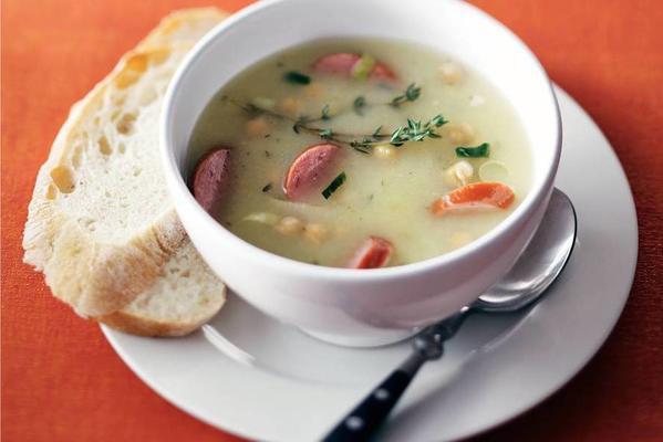 leek-potato soup with smoked sausage