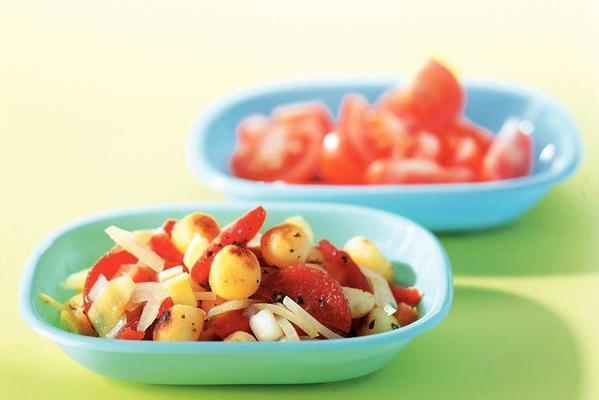 Italian baby potatoes with tomato salad