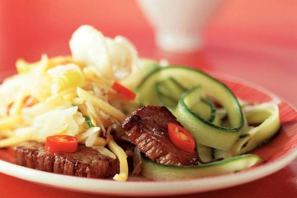 stir-fry dish with roast beef