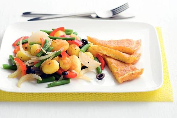 fried baby potatoes with vegetables