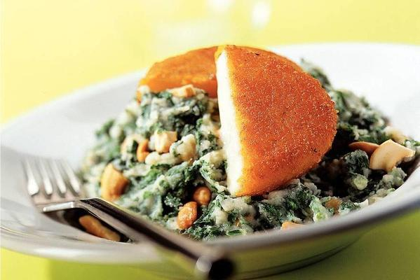 kale with cheese schnitzel