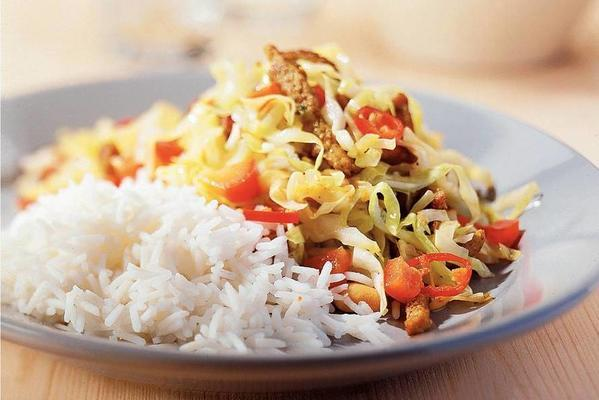 basmati rice with spicy cabbage