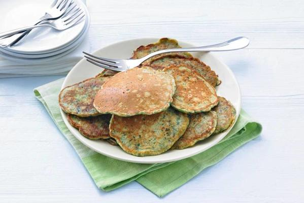 kale pancakes with bacon