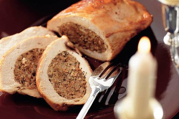 turkey fricandeau with saucijsjes thyme filling