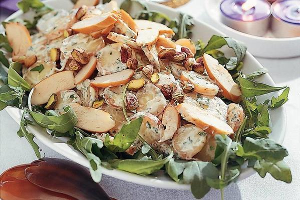 potato salad with smoked chicken and coriander dressing