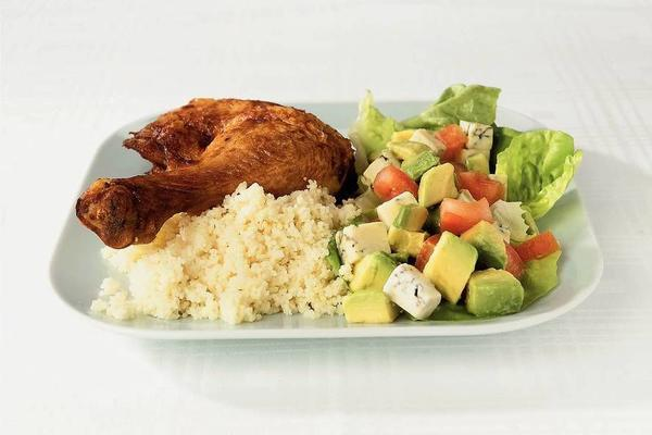 grilled chicken leg with avocado salad
