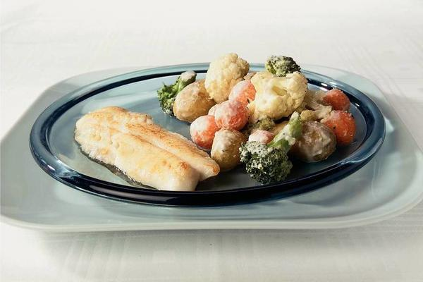 redfish fillet with vegetable dish
