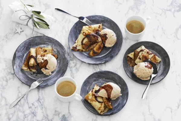 pancakes with hot apple and cinnamon ice cream