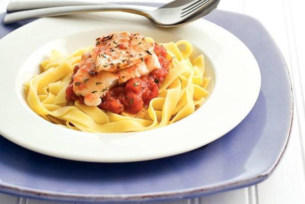 cod fillet in Mediterranean tomato sauce
