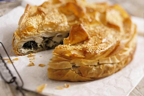 savory filo pastry with spinach and cheese