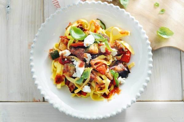 tagliatelle with ratatouille and goat cheese