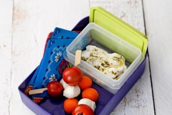 vegetable skewers with yoghurt dip