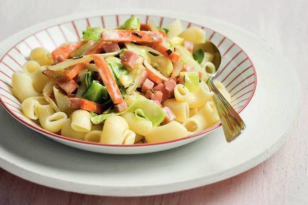 pasta with creamy cabbage ham sauce