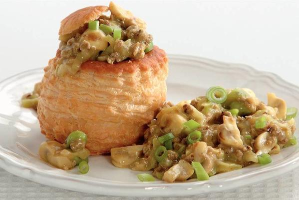patties with spring onions and mushrooms