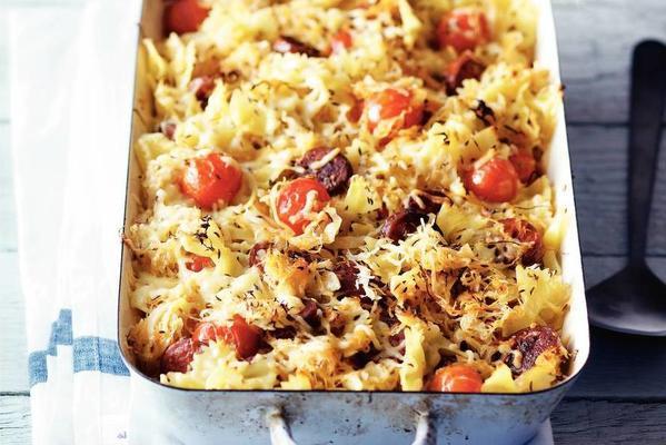 sauerkraut dish with chorizo