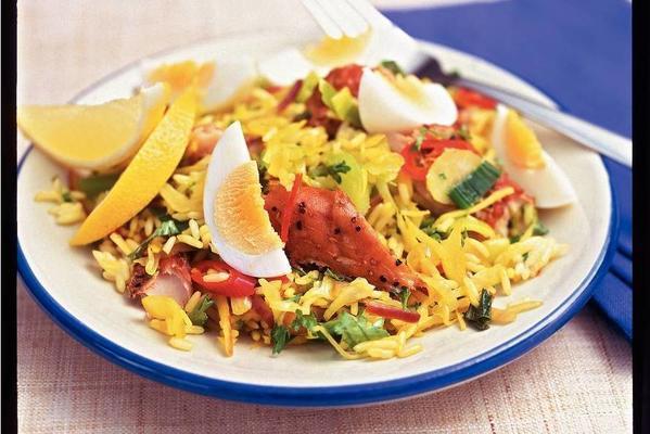 oriental rice dish with mackerel