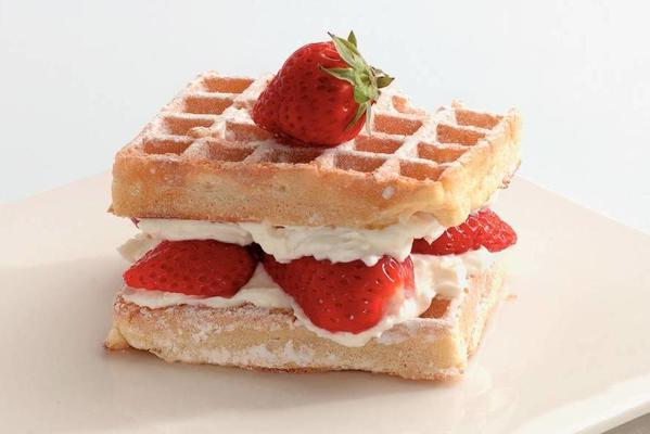 waffles with quiche topping and strawberries