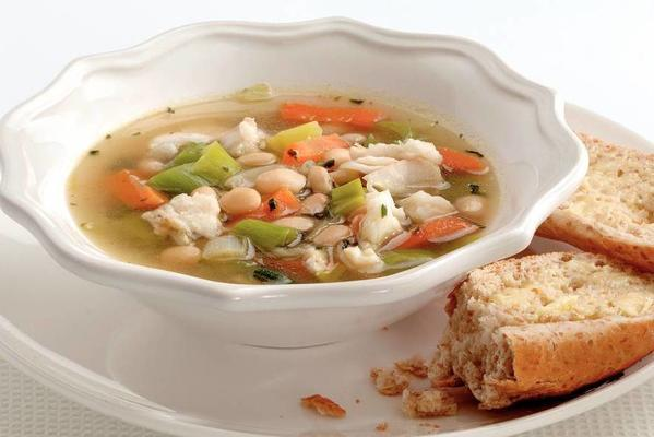 vegetable soup with cod