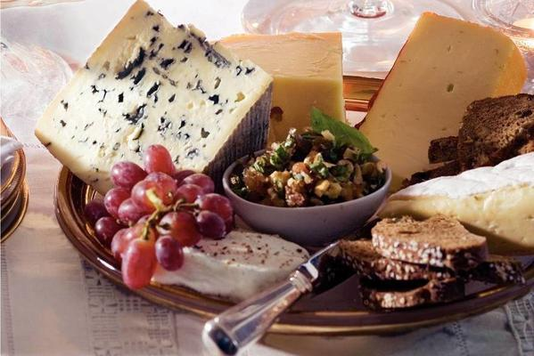 cheese platter with date salsa