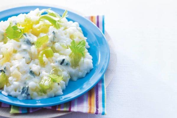 celery risotto with gorgonzola