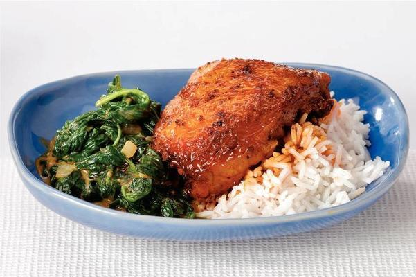 marsala chicken with coconut spinach