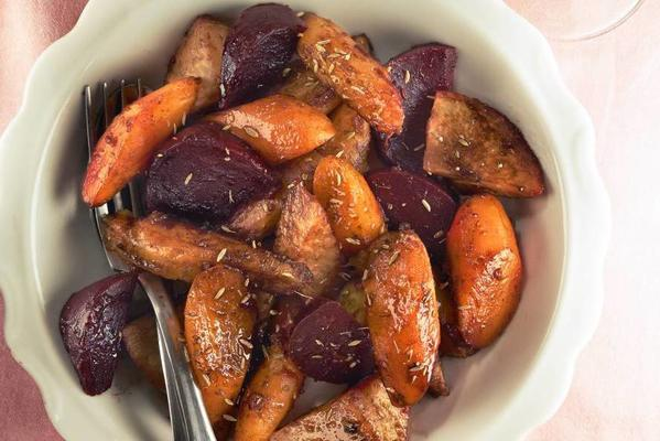 yvette topped candied root vegetables