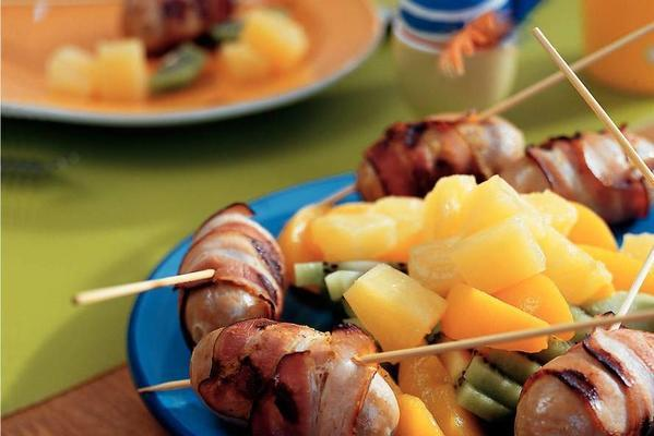 sausage skewers with fruit